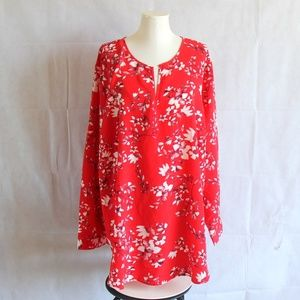 Ava Viv Red White Floral Top Long Sleeve Blouse 4X